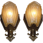 Pair Vintage Arts & Crafts Deco Wall Sconces by Virden.