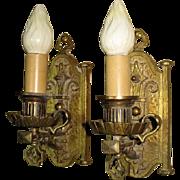 Vintage Pair Single Bulb Sconces with Tudor & Spanish Revival Feel