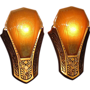 Wonderful Vintage Slip Shade Wall Sconces. Priced per Pair