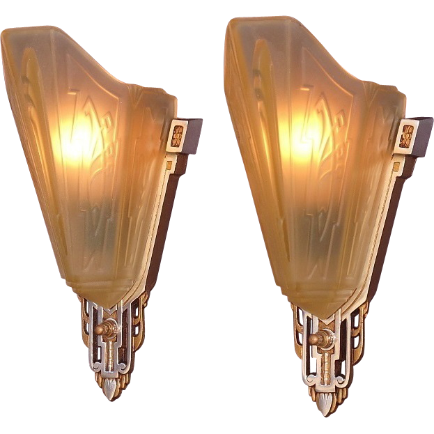 Antique Wall Sconce Glass Shades : Vintage Slip Shade Wall Sconces with Polished Aluminum Accents & from vintagelights-online on ...