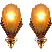 Vintage Pair Slip Shade Sconces Made by Virden