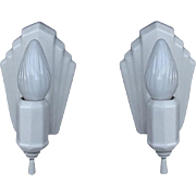 Art Deco Inspired White Porcelain Wall Sconces Vintage Pair