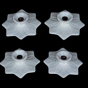 1920s White Porcelain Star Fixture, Wall or Ceiling Mount; 7 available, priced each