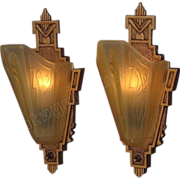 Vintage Pair Cast Iron Slip Shade Wall Sconces. Signed MEP with Consolidated Glass Shades