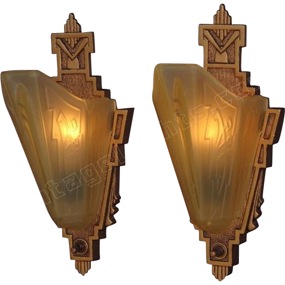Antique Wall Sconce Glass Shades : Vintage Pair Cast Iron Slip Shade Wall Sconces. Signed MEP with from vintagelights-online on ...