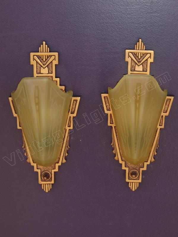 Vintage Pair Cast Iron Slip Shade Wall Sconces Signed Mep