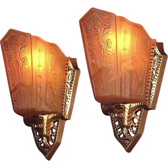 Wall Sconce Lighting Art Deco : Pr 1930s Art Deco Wall Sconce Lighting Fixtures Original Vintage Slip from vintagelights-online ...