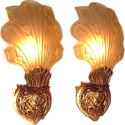 Pair Vintage Art Deco Slip Shade Wall Sconces