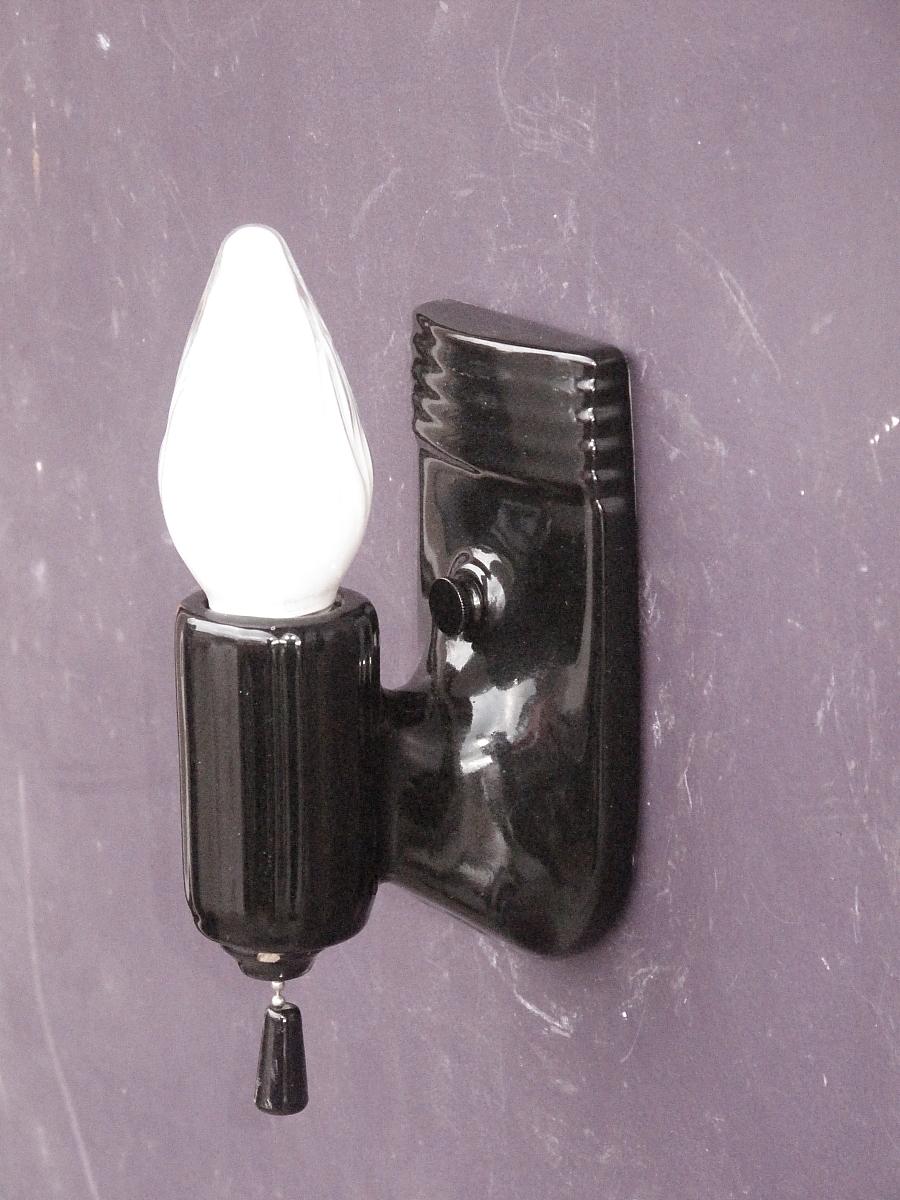 Black Porcelain Wall Sconces : Pair Vintage Black Porcelain Bathroom Wall Sconces from vintagelights-online on Ruby Lane