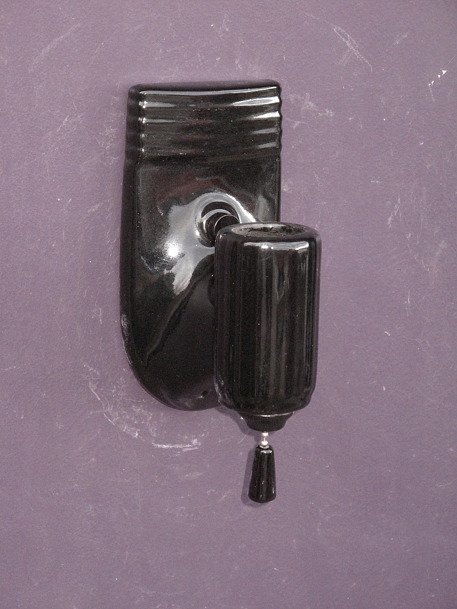 Pair Vintage Black Porcelain Bathroom Wall Sconces from vintagelights-online on Ruby Lane