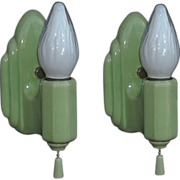 Bungalow Green Pair Porcelain Bathroom Wall Sconces 2 pair available