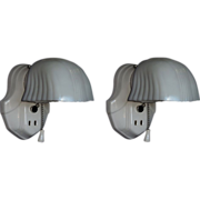 Pair White Porcelain Bathroom Wall Sconces with Vintage Shades