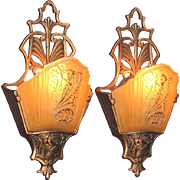 Pair Slip Shade Wall Sconces Early 1930s with ORIGINAL finish and patina