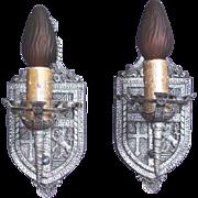 Pair 1920s Heraldic / Tudor Wall Sconces in Pewter