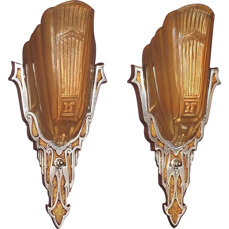 Art Deco Inspired Wall Sconces : Art Deco Inspired Slip Shade Wall Sconces with Stylized Stork from vintagelights-online on Ruby Lane