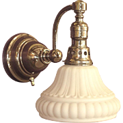 c.1900 Gooseneck Sconce with Original Nickel Finish