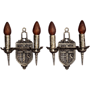 Pair 1920s Heraldic Tudor Wall Sconces in Pewter