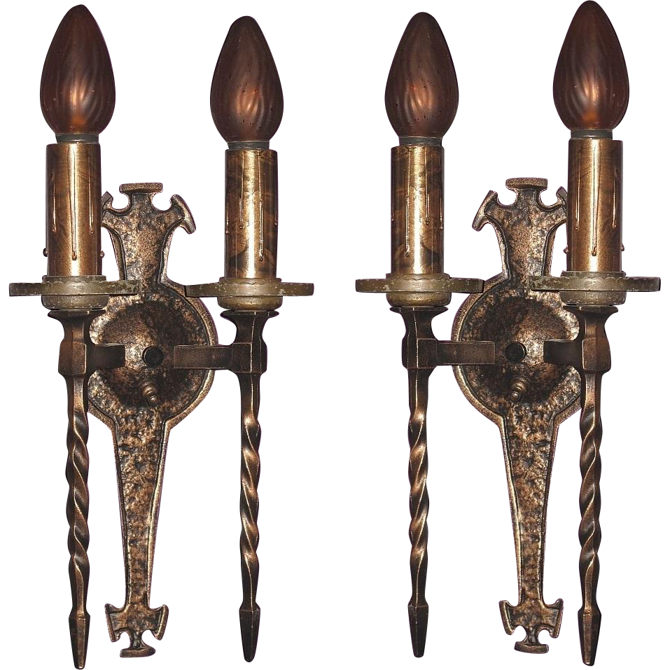 Gothic Wall Sconces: Pair Tudor Gothic Wall Sconces 1920s