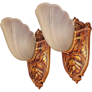 Pair Slip Shade Sconces 1920s - 30s