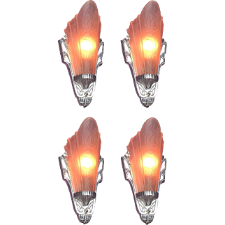 2 Pair Pink Slip Shade Sconces Priced per pair