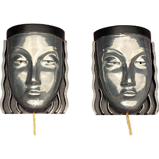 Pair Mid Century Art Deco Woman,s Face Wall Sconce