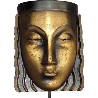 Single Mid Century Art Deco Woman's Face Wall Sconce