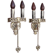 Large Tudor / Gothic Two Bulb Sconces 1920s