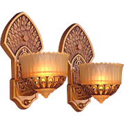 Pair Slip Shade Sconces with Native American Influences