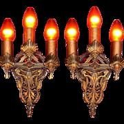Pair Art Nouveau Bronze Sconces Original Finish