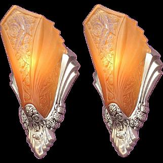 Art Deco Sconces with Original Slip Shades 1920s