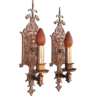 Large Bronze Single Bulb Revival Sconces with Dragons 2 pair available priced per pair