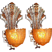 4 Pair Early 30s Very Deco Sconces Priced per Pair