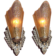 Pair Art Deco Slip Shade Sconces Original Chrome Finish 3 pr available