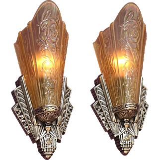 Pair Art Deco Slip Shade Sconces Original Chrome Finish 3 pr available