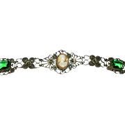 Lovely Filagree Silver Bracelet with Cameo and Green Glass