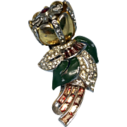 Old Coro Trembler Flower Pin Brooch