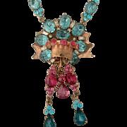 Rare Art Deco Vintage Unusual Rhinestone Necklace