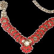 Sparkling Lively Orange Rhinestone Necklace