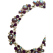 Lisner Vintage Rhinestone Necklace Purple Rhinestones