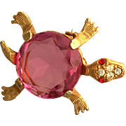 Nice Large Pink Rhinestone Turtle Pin Brooch