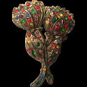 Sweet Old Vintage Multi-color Pot Metal Floral Brooch Pin