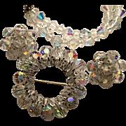 Aurora borealis Crystal Beads Earrings Pin Bracelet w Sterling Clasp