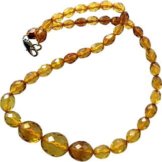 Vintage Baltic Amber Graduated Faceted Necklace