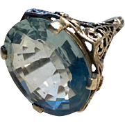 Large Faceted Aquamarine Stone Filigree Sterling Silver Ring