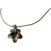 Sterling Silver Plumeria Flower Pendant on Sterling Snake Chain
