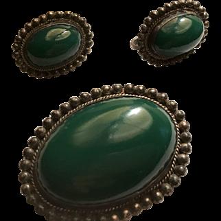 Vintage Mexican /sterling Set Brooch Earrings