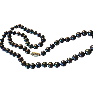"""18"""" Peacock Cultured Pearls 6mm 14kt Clasp"""