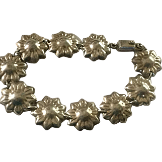 Vintage Mexican Sterling Bracelet Flowers 25.4 grams