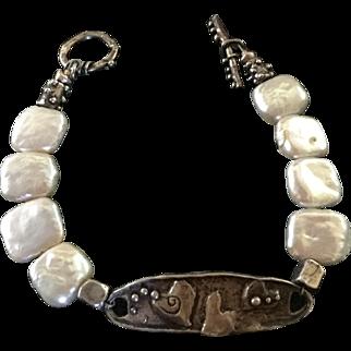 Custom Made Sterling Pearl Bracelet Hearts