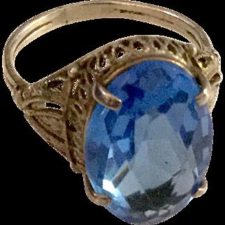 Vintage Filigree Sterling w/ Blue Stone Size 7